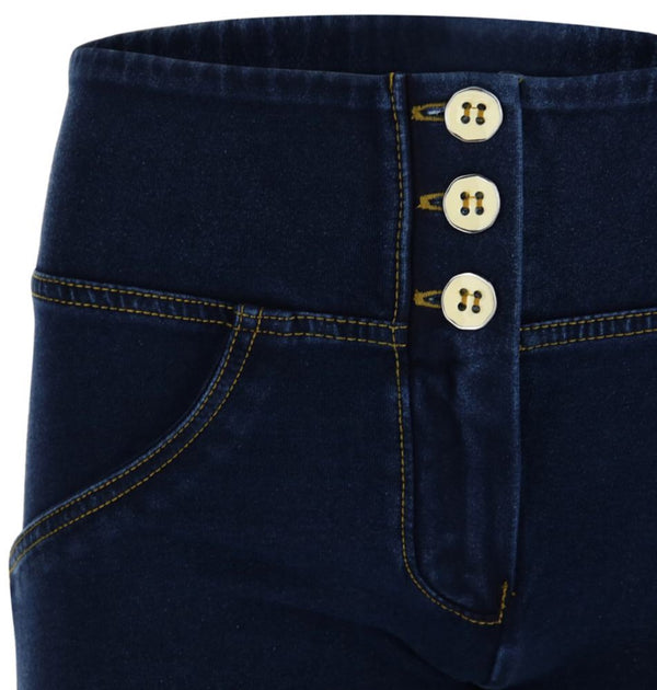 Dark Denim Yellow Stitch Highrise 3 Button Freddy Jean