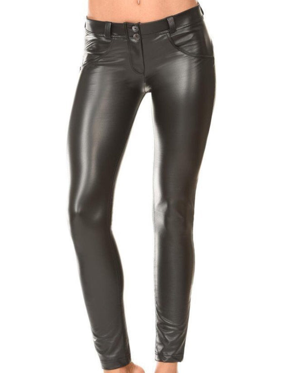 Black Leather effect Midrise Freddy Jeans