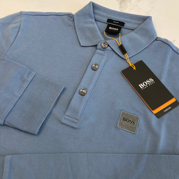Hugo Boss Passerby Blue Long Sleeve Polo