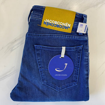 Jacob Cohen Blue Denim with Yellow Ponyskin Badge