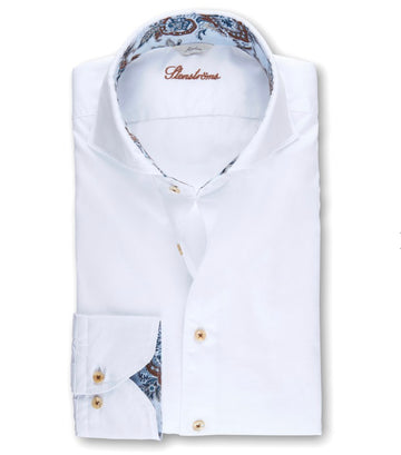 Stenstroms White Casual Slimline Shirt with paisley trim