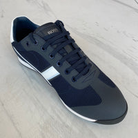 Navy Blue Low-profile trainers in mesh with suede accents