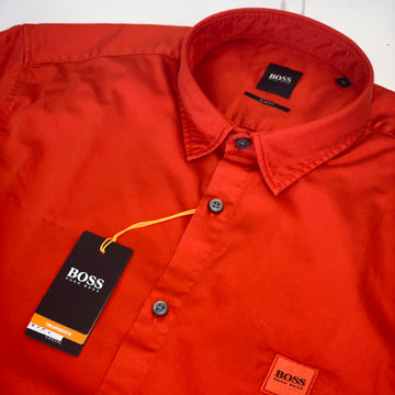 Hugo Boss Red Short Sleeve Shirt