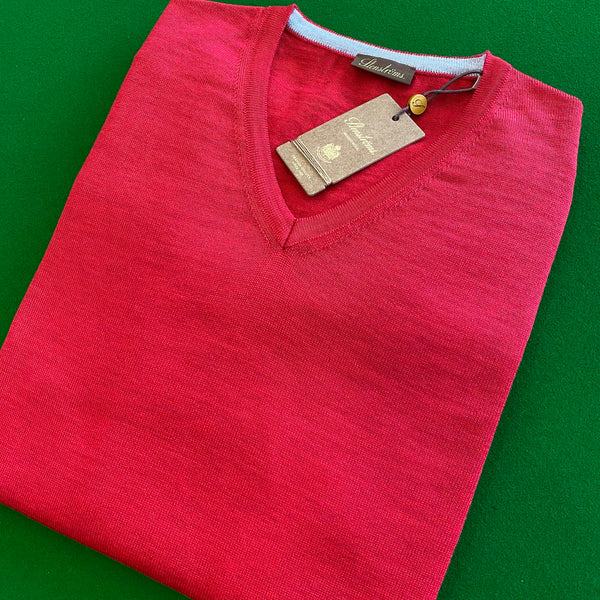 Stenstroms Red Merino V-Neck With Patches