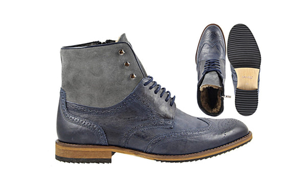 Lacuzzo Navy fur lined boot
