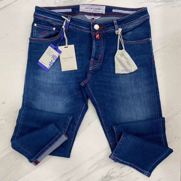 Jacob Cohen Denim multi stitch with red Badge