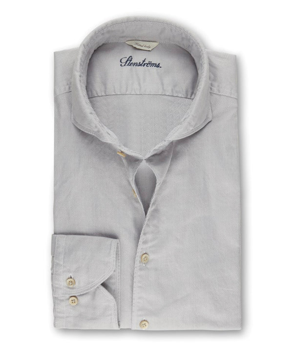 Stenstroms Light Grey Textured Casual Slimline Shirt