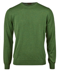 Stenstroms Green Merino Crew Neck With Patches