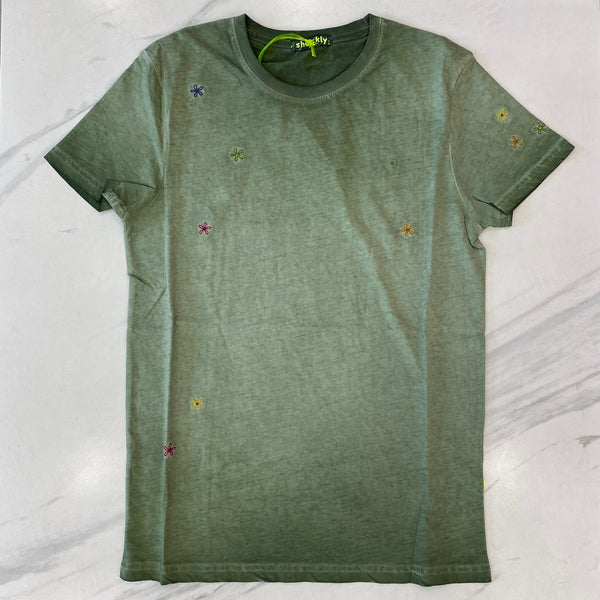 Shockly Khaki Flower T-Shirt