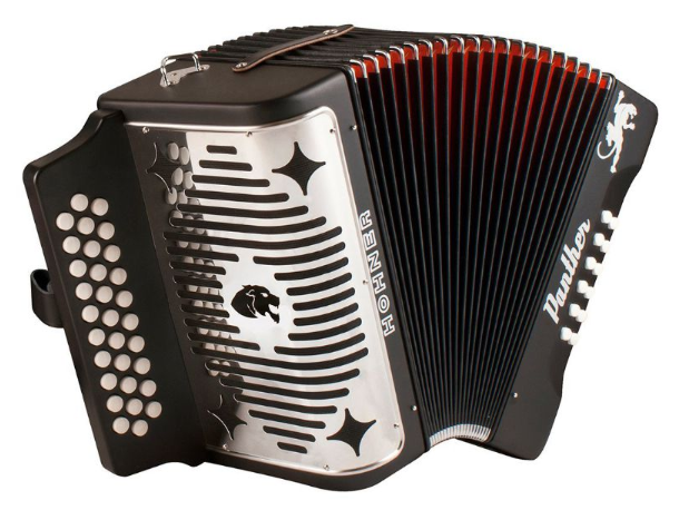 Hohner BLACK PANTHER 3-Row FBE Diatonic Accordion Key Of F / Bb / Eb