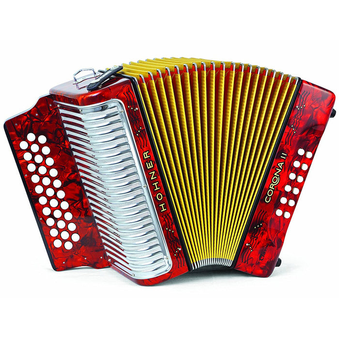 Hohner CORONA II Classic E-A-D Accordion - Pearl Red