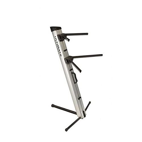 Ultimate Support Ax48 Pro Silver Two-Tier Portable Column Keyboard Stand Silver