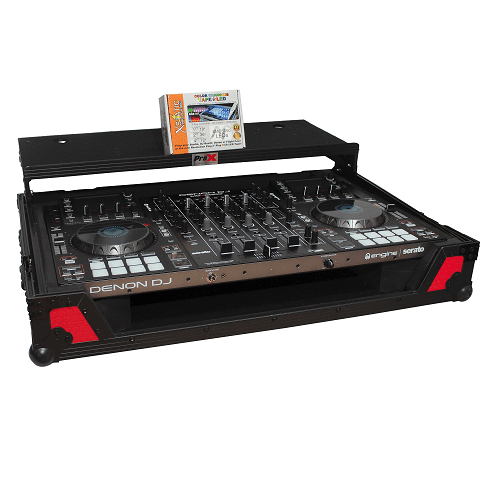 Prox Xs-Mcx8000 Wltrb Flight Road Case With Sliding Laptop Shelf And Wheels Red On Black - Red One Music