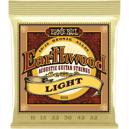 Ernie Ball Earthwd 8020 Ligh 2004Eb Cordes pour guitare acoustique Earthwood Light 8020 Bronze