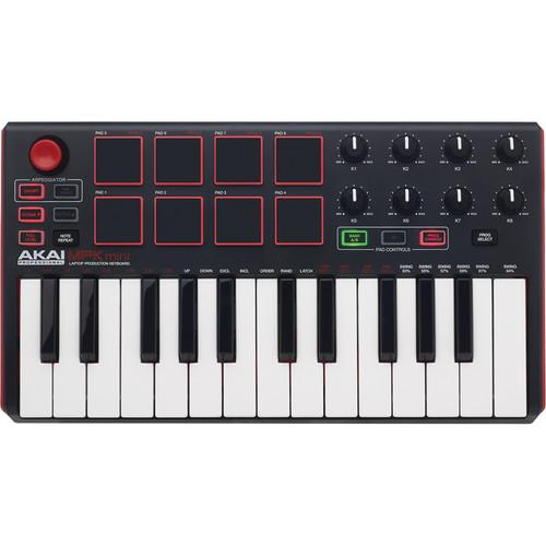 AKAI MPK MINI MKII BLACK COMPACT KEYBOARD AND PAD CONTROLLER
