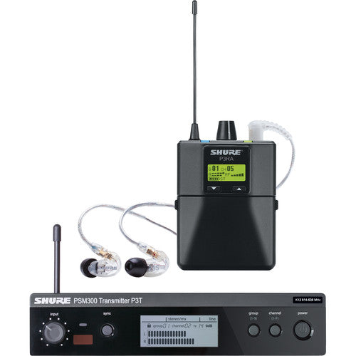 Shure P3TRA215CL-H20 Stereo Personal Monitor System with IEM (H20: 518-541 MHz) - Red One Music