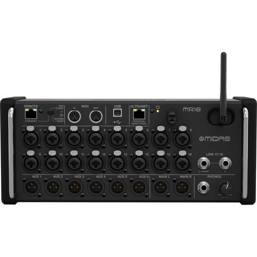 Midas MR18 18-Input Digital Mixer For Ipad Android Tablets With Wi-Fi And Usb Recorder - Red One Music