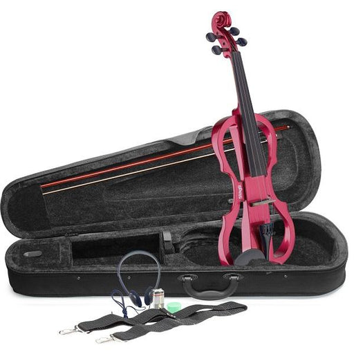 Stagg Evn X-4/4 Mrd Electric Violin Set With Metallic Red Electric Violin Soft Case And Headphones