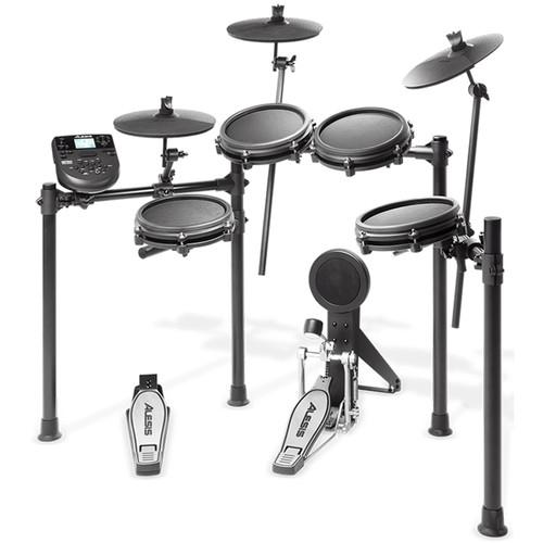 Alesis Nitro Mesh Kit 5-Piece Electronic Drum Set With Mesh Heads 3 X Cymbals And Nitro Sound Module - Red One Music