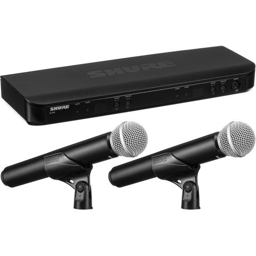 Shure BLX288/PG58-J10 Dual-Channel Wireless Handheld Microphone System with PG58 Capsules (J10: 584 to 608 MHz) - Red One Music