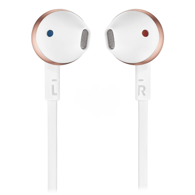 JBL T205 Rose Gold Earbud Headphones - Red One Music