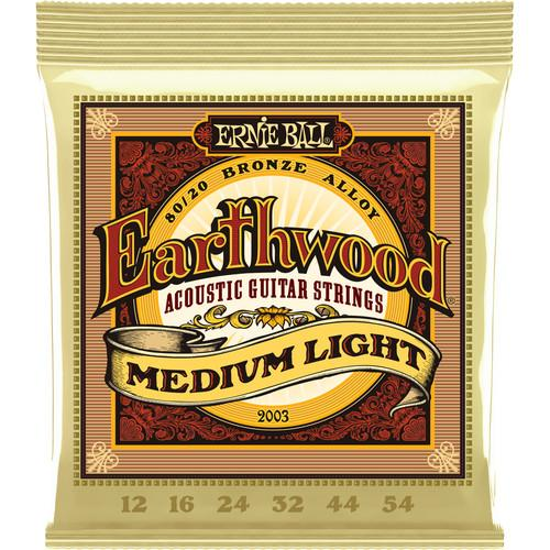 Ernie Ball Earthwd 8020 Md-L 2003 Cordes pour guitare acoustique Earthwood Medium Light 8020 Bronze 12 - 54