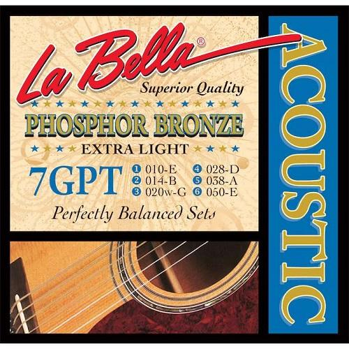 La Bella 7Gpt Phosphor Bronze Extra Light 10-50 - Red One Music