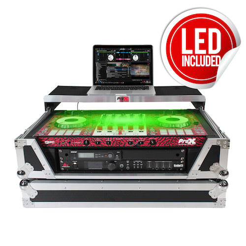 ProX XS-SX1K2U WLT LED Flight Case for Pioneer DDJSX3 DDJ1000 Controller and Others W-2U Rack Space | Sliding Laptop Shelf | Wheels | LED Kit - Red One Music