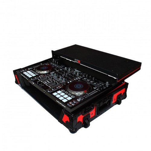 ProX XS-DDJSX WLTRB Digital Controller Flight Case With Sliding Laptop Shelf and Wheels-For Pioneer DDJ-SX2 DDJ-SX3 DDJ-RX-Red on Black - Red One Music
