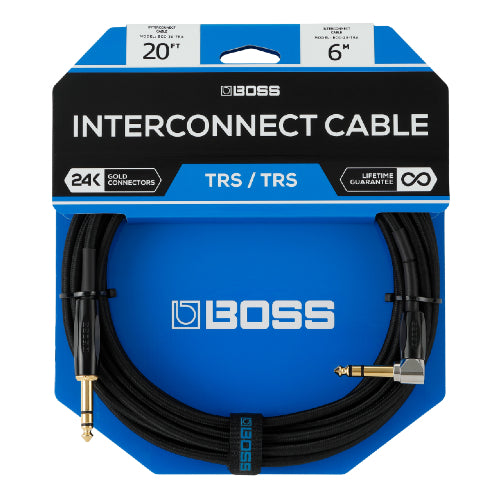 "Boss BCC-20-TRA 1/4"" TRS Cable, Angled/Straight - 20ft"