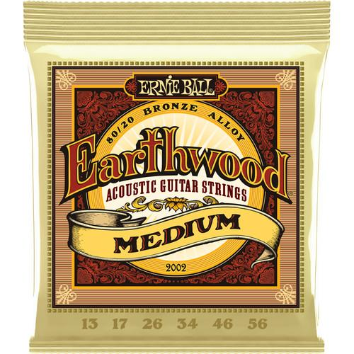 Ernie Ball Earthwd 8020 Med 2002Eb Cordes pour guitare acoustique moyenne Earthwood 8020 Bronze 13 - 56