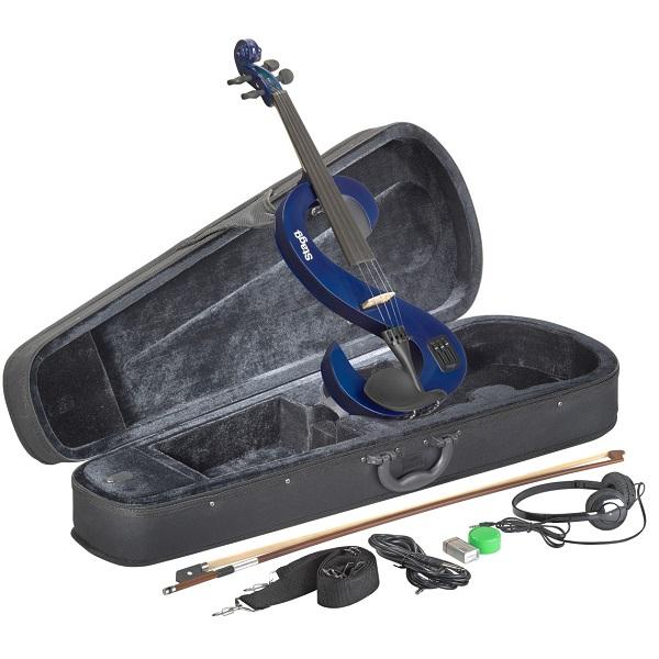 Stagg Evn  4/4 Tb Electric Violin Set With S-Shaped Transparent Blue Electric Violin Soft Case And Headphones