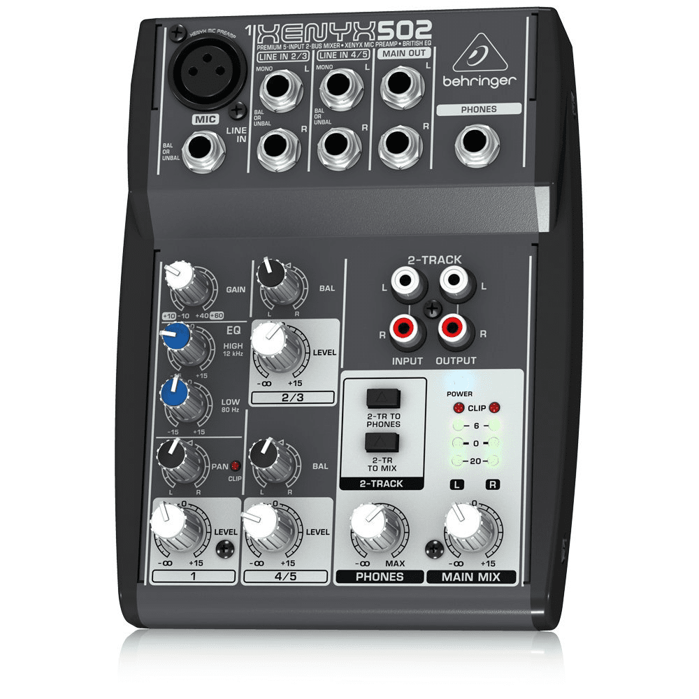 BEHRINGER 502  XENYX 502PREMIUM 5-INPUT 2-BUS MIXER WITH XENYX MIC PREAMP AND BRITISH EQ