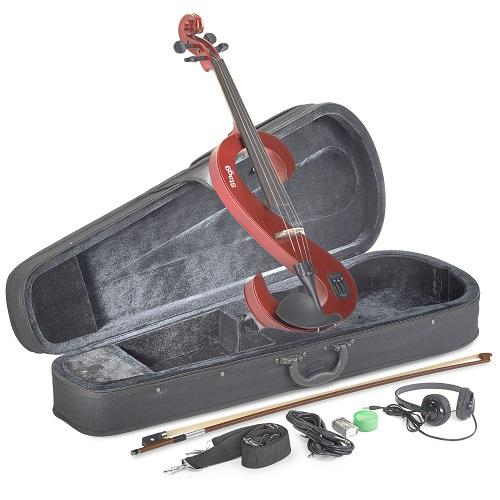 Stagg Eva 44-Mrd Metalic Red Silent Viola Set With Case