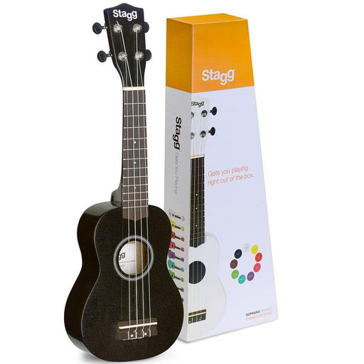 Stagg Us-Night Stagg Us-Night Soprano Ukulele With Black Nylon Gig Bag - Black - Red One Music