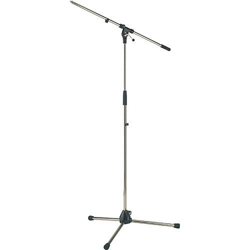 K&M 210/20 Nickel Tripod Microphone Stand With Boom Nickel - Red One Music
