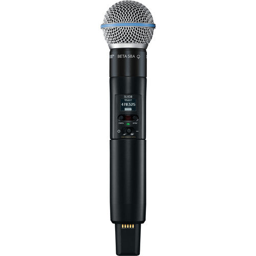 Shure SLXD24D/B58 Dual-Channel Digital Wireless Handheld Microphone System with Beta 58 Capsules (J52: 558 to 602 + 614 to 616 MHz)
