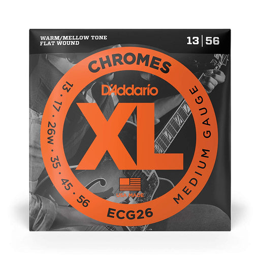 D'Addario ECG26 Chromes Flat Wound Guitare Electrique Cordes 13-56 - Red One Music