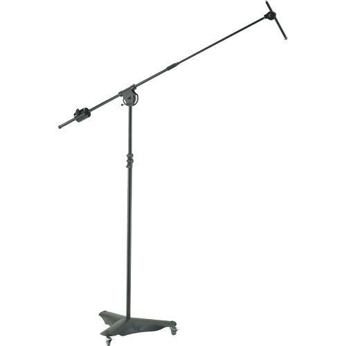 K&M 21430 Black Mobile Overhead Microphone Stand With Caster Base Black - Red One Music