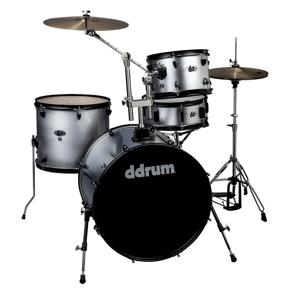 Ddrum D2R Silver Spkl Ddrum D2R Silver Spkl D2 Rock Kit With Black Hardware Lime Sparkle