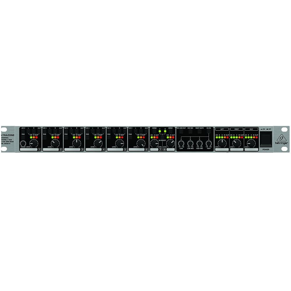 BEHRINGER ZMX8210 PROFESSIONAL 8-CHANNEL 3-BUS MICLINE ZONE MIXER WITH REMOTE CONTROL AND LINK PORTS