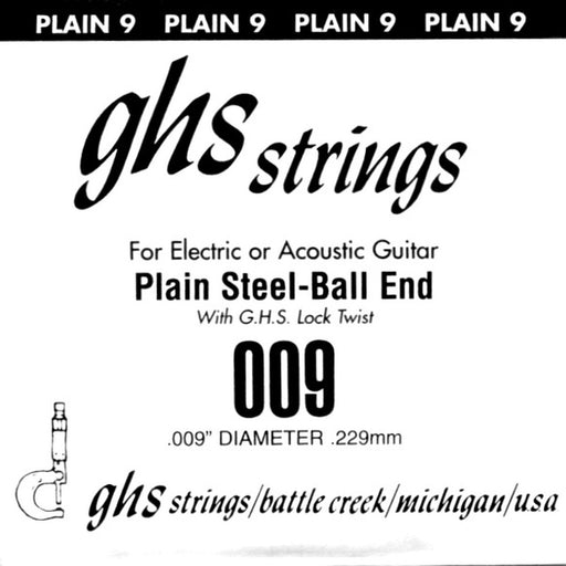 GHS 9 Single Plain Steel Ball End .009 Gauge - Red One Music