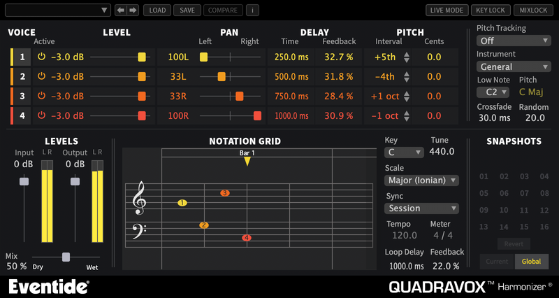 Eventide Quadravox 4-voice Pitch-shifting Harmonizer Plug-in (Download)