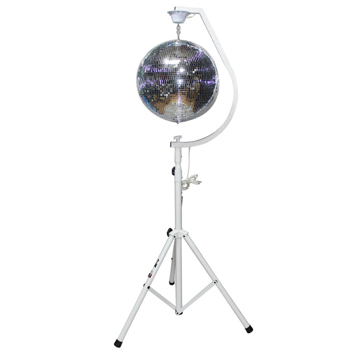 "White 20"" Mirror Ball Hook with 1 RPM Motor - Red One Music"