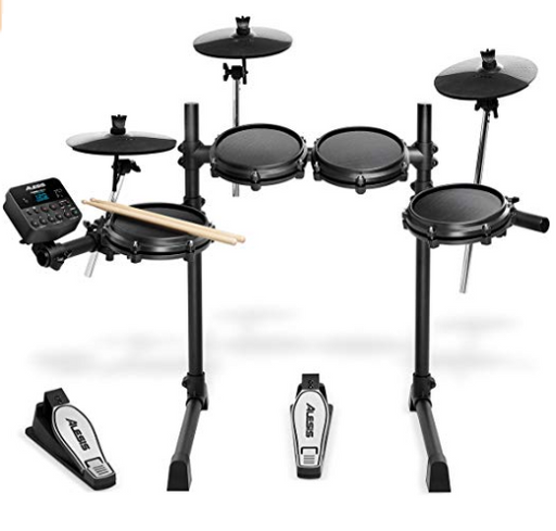 Alesis Turbo Mesh Kit Seven-Piece Electronic Drum Kit with Mesh Heads - Red One Music