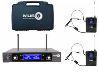 Music8 M8-200HS Headseat Wireless System Dual Mic System - Red One Music