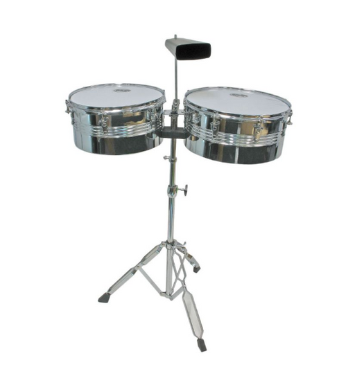 "Mano Percussion Timbale Set 13"" & 14"" Steel Shells with Cowbell & Stand"