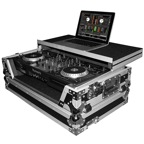 Prox Xs-Mixdeck Wlt Flight Case For Numark Mixdeck Quad Controller With Laptop Shelf Silver-On-Black - Red One Music