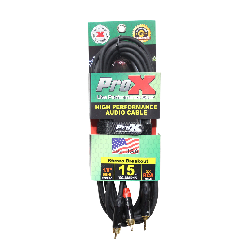 "ProX XC-CMR15 15 Ft. Unbalanced 1/8"" (3.5mm) Mini TRS-M to Dual RCA-M High Performance Audio Cable"