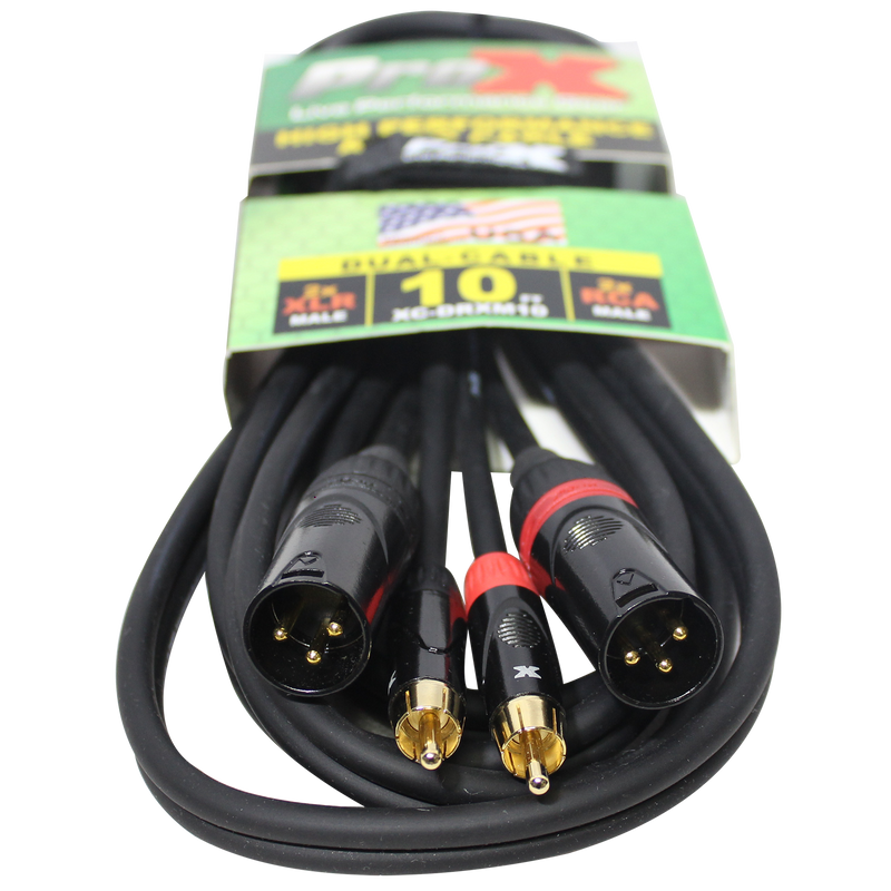 ProX XC-DRXM10 10 Ft. Unbalanced Dual RCA-M to Dual XLR3-M High Performance Audio Cable